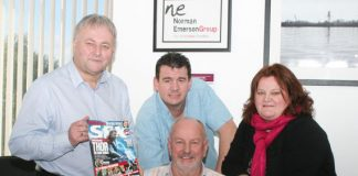 Norman Emerson Group managing director, George Emerson (seated) along with Kenny Crooks, sales and marketing director, Colin Emerson, operations director and Julie Timlin, PA.