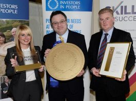Pictured (left to right) are Head of HR at Lagan Construction Group, Tracey McCabe, Stephen Farry MLA and Minister for Department of Employment and Learning, and CEO of Lagan Construction Group, Colin Loughran
