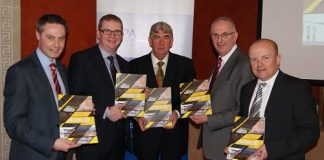 Pictured (from left) are Paul Frew MLA (Vice Chairman of the All Party Group on Construction), Simon Hamilton MLA ( Finance Minister ), John Shannon ( QPANI Chairman ), Danny Kennedy MLA ( Regional Development Minister ), Gordon Best, Regional Director QPANI