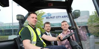 Pictured here are GRAHAM engineer Gareth Murdock, Belfast City Airport Capital Projects and Engineering Manager Chris Horner, together with Stewart Palmer.