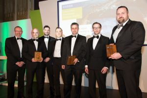 The Luke's Point project team receive their CEEQUAL Outstanding Achievement Award 2016 at the Institution of Civil Engineers Head Quarters Westminster, London. (Left to Right): Chris Gibson, Thomas Telford/ICE, David McCune AECOM, Sam McManus AECOM, Joseph Martin AECOM, Grahame Millar NI Water, Samuel Donaldson AECOM, and Davy McGrath NI Water.